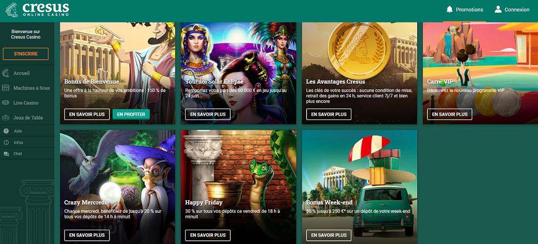 promotions sur casino en ligne crésus casino
