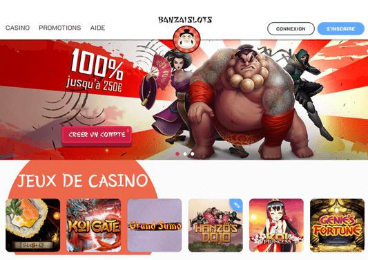 Les offres de bienvenue sur Banzai Slots