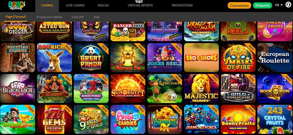gamme de jeu casino en ligne Spin Million