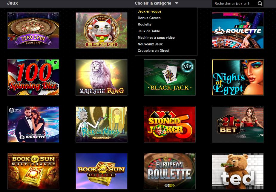 gamme de jeu magicazz casino