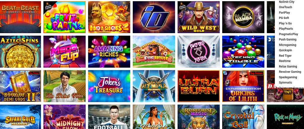 gamme de jeu du casino en ligne Evolve Casino